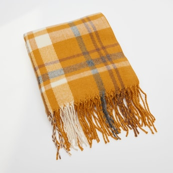Plaid Pattern Scarf with Tasseled Border