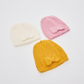 Set of 3 - Textured Beanie Cap with Bow Applique