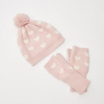 Heart Print Pom-Pom Detail Beanie Cap and Gloves Set