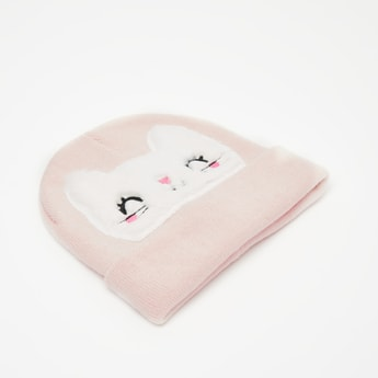 Textured Beanie Cap with Kitty Face Applique