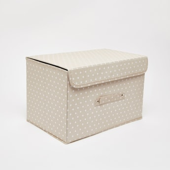 Heart Print Storage Box with Lid - 38x25x25 cms