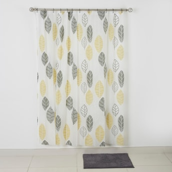 Printed Shower Curtain with Textured Bath Mat - 180x180 cms