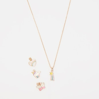 Link Chain and 4-Piece Assorted Pendants Set