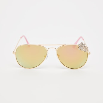 Metal Sunglasses with Crystal Embellished Floral Accent