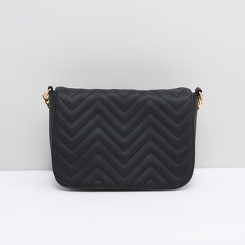 Quilted Crossbody Bag with Snap Button Closure