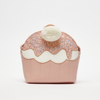 Embellished Crossbody Bag with Pom-Pom Accent