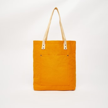 Textured Fabric Shopper Bag with Double Handles