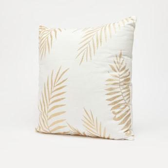 Leaf Print Filled Cushion with Zipper Closure - 45x45 cms