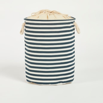 Striped Laundry Hamper with Handles and Drawstring Closure - 38x49 cms