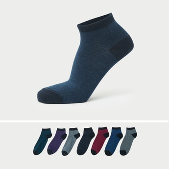 Pack of 7 - Colour Block Solid Ankle-Length Socks with Elasticised Hem