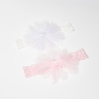 Set of 2 - Lace Hairbands with Pearl Detail