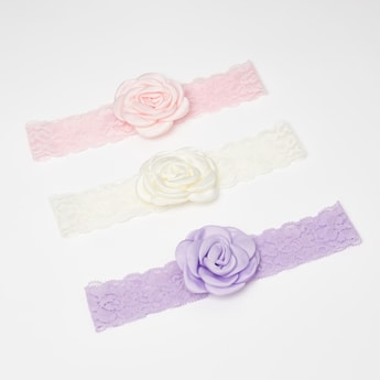 Set of 3 - Lace Hairbands with Rosette