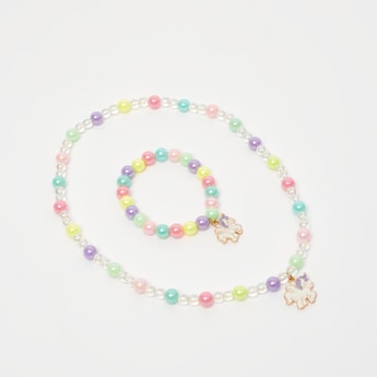 Beaded Necklace and Bracelet Set with Unicorn Pendants