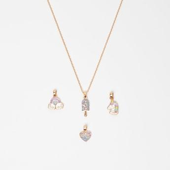 Embellished 4-Piece Pendants and Necklace Set
