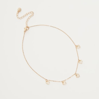 Stone Studded Anklet with Heart Charms and Lobster Clasp
