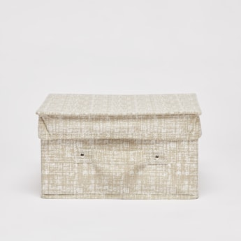 Textured Storage Box with Handle - 33x28x15 cms