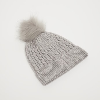 Textured Beanie Cap with Pom-Pom Accent