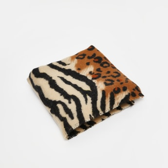 Animal Print Scarf with Fringe Detail