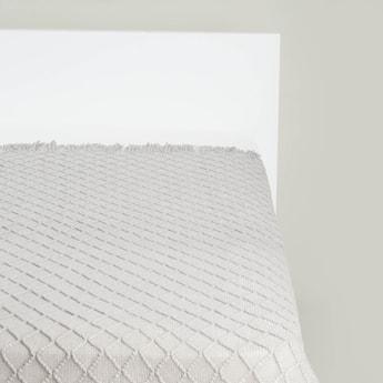 بطانية خفيفة فردية بارزة الملمس بشراشيب - 152x127 سم