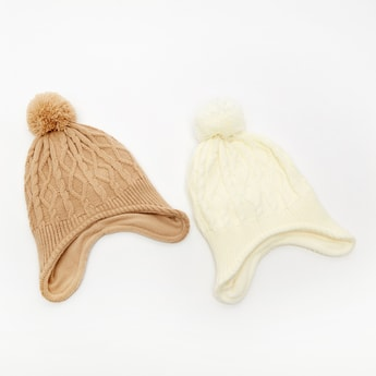 Set of 2 - Textured Beanie Cap with Plush Detail