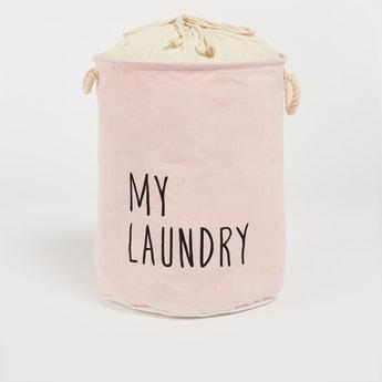 Text Print Laundry Basket with Drawstring Closure - 49x38 cms
