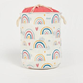 Rainbow Print Laundry Hamper with Drawstring Closure - 49x38 cms