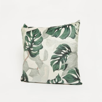 Leaf Print Square Filled Cushion - 45x45 cms