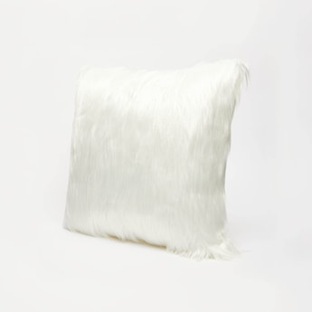 Plush Detail Filled Cushion with Zip Closure - 45x45 cms