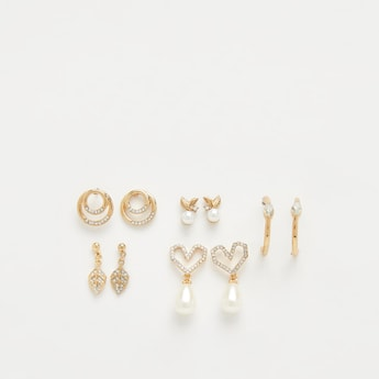 Set of 5 - Embellished Dangling Earrings with Pushback Closure