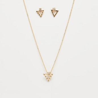 Necklace with Triangular Pendant and Earrings Set