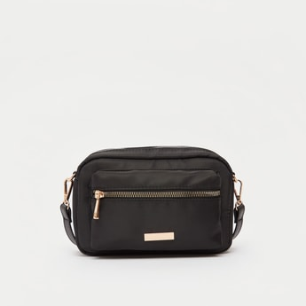 Solid Crossbody Bag with Detachable Strap and Zip Closure