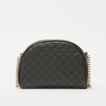 Quilted Crossbody Bag with Zipper Closure and Chain Link Strap