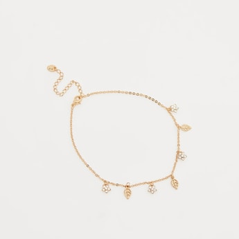 Anklet with Stone Studded Floral Charms