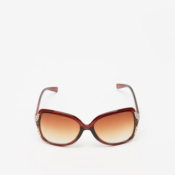 Full Rim Embellished Detail Sunglasses with Nose Pads