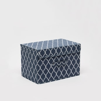 Printed Rectangular Storage Box with Handle - 38x25x25 cms