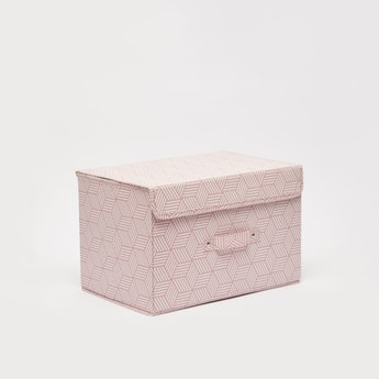Printed Storage Box with Handle and Lid - 38x25x25 cms