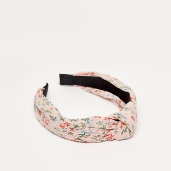 Floral Print Hairband with Twisted Knot Accent