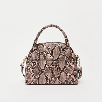 Reptile Textured Dome Bag with Handles and Detachable Strap