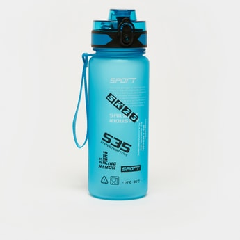 Printed Water Bottle with Sipper Lid and Strap Handle