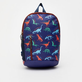Dinosaur Print Backpack with Zip Closure and Padded Shoulder Straps