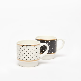 Set of 2 - Polka Dot Print Mug with Handle