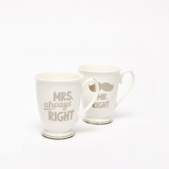 Set of 2 - Text Print Mugs with Handle