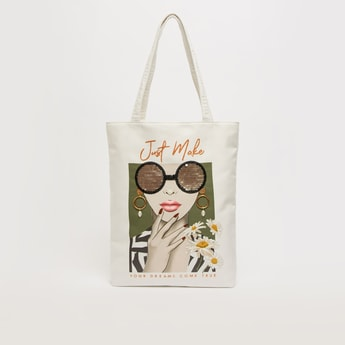 Graphic Print Fabric Shopper Bag with Double Handles