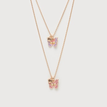 Pack of 2 - Short Necklace with Studded Butterfly Pendant