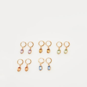 Set of 5 - Embellished Earrings with Hinged Hoop