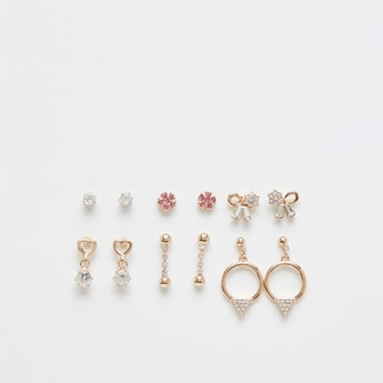 Pack of 6 - Studded Earrings with Push Back Closure