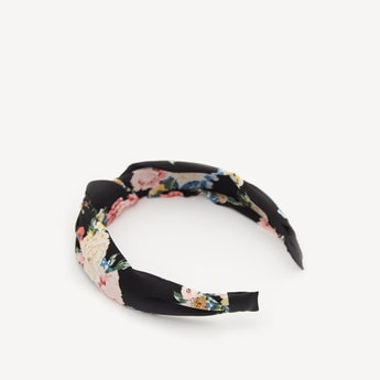 Floral Print Broad Hairband with Knot Detail