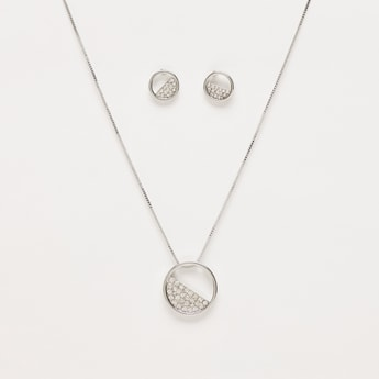 Necklace with Stone Studded Pendant and Stud Earrings Set