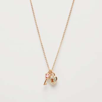 Studded Lock and Key Pendant Short Necklace with Lobster Clasp Closure