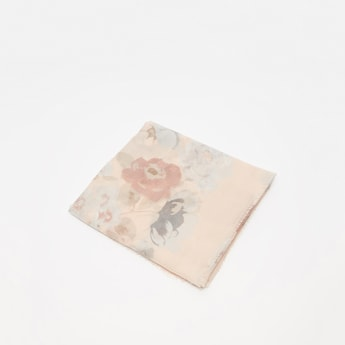 Floral Print Rectangle Scarf with Fringes